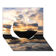 SUN REFLECTED ON LAKE Heart 3D Greeting Card (7x5)