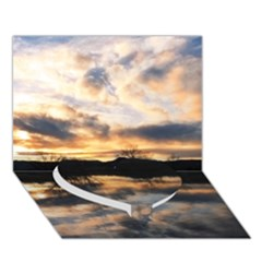 Sun Reflected On Lake Heart Bottom 3d Greeting Card (7x5)