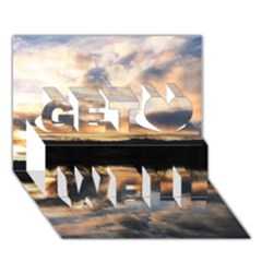 SUN REFLECTED ON LAKE Get Well 3D Greeting Card (7x5)