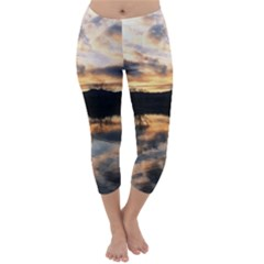 SUN REFLECTED ON LAKE Capri Winter Leggings