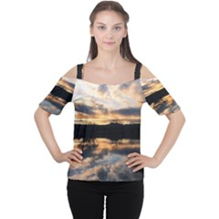 SUN REFLECTED ON LAKE Women s Cutout Shoulder Tee