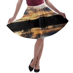 SUN REFLECTED ON LAKE A-line Skater Skirt