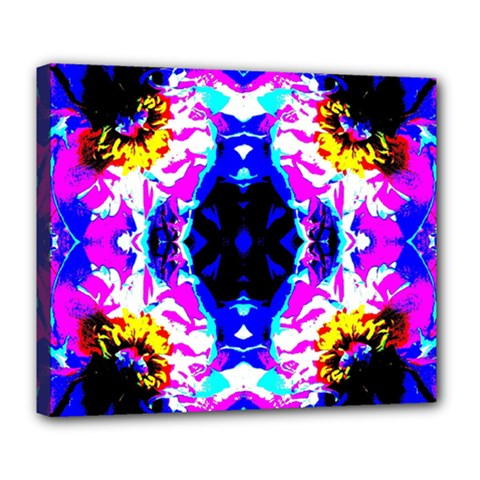 Animal Design Abstract Blue, Pink, Black Deluxe Canvas 24  x 20