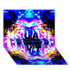 Animal Design Abstract Blue, Pink, Black You Are Invited 3d Greeting Card (7x5)