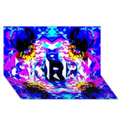 Animal Design Abstract Blue, Pink, Black SORRY 3D Greeting Card (8x4)