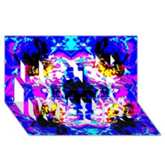 Animal Design Abstract Blue, Pink, Black Best Wish 3D Greeting Card (8x4)