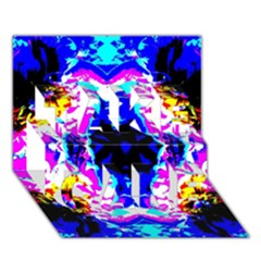 Animal Design Abstract Blue, Pink, Black TAKE CARE 3D Greeting Card (7x5)