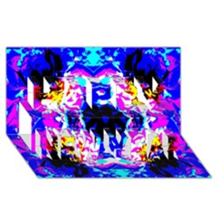 Animal Design Abstract Blue, Pink, Black Happy New Year 3D Greeting Card (8x4)