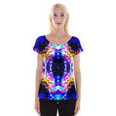 Animal Design Abstract Blue, Pink, Black Women s Cap Sleeve Top