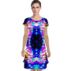 Animal Design Abstract Blue, Pink, Black Cap Sleeve Nightdresses