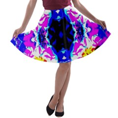 Animal Design Abstract Blue, Pink, Black A-line Skater Skirt