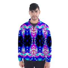 Animal Design Abstract Blue, Pink, Black Wind Breaker (Men)