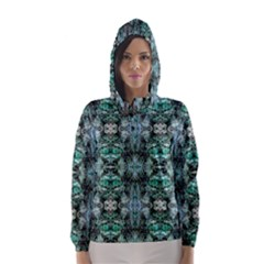 Green Black Gothic Pattern Hooded Wind Breaker (Women)