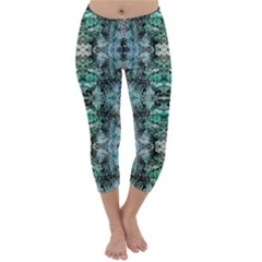 Green Black Gothic Pattern Capri Winter Leggings