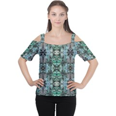 Green Black Gothic Pattern Women s Cutout Shoulder Tee