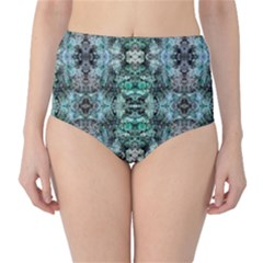 Green Black Gothic Pattern High-Waist Bikini Bottoms