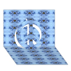 Pastel Blue Flower Pattern Peace Sign 3D Greeting Card (7x5)
