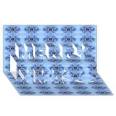 Pastel Blue Flower Pattern Merry Xmas 3D Greeting Card (8x4)
