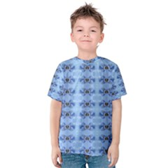 Pastel Blue Flower Pattern Kid s Cotton Tee