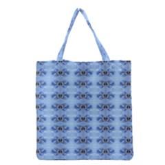Pastel Blue Flower Pattern Grocery Tote Bags
