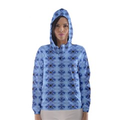 Pastel Blue Flower Pattern Hooded Wind Breaker (Women)