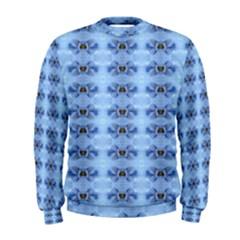 Pastel Blue Flower Pattern Men s Sweatshirts