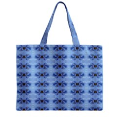 Pastel Blue Flower Pattern Zipper Tiny Tote Bags