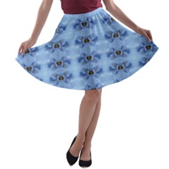 Pastel Blue Flower Pattern A-line Skater Skirt