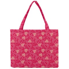 Red Pink Valentine Pattern With Coral Hearts Tiny Tote Bags