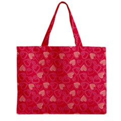 Red Pink Valentine Pattern With Coral Hearts Zipper Tiny Tote Bags