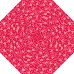 Red Pink Valentine Pattern With Coral Hearts Folding Umbrellas