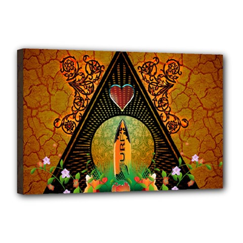 Surfing, Surfboard With Flowers And Floral Elements Canvas 18  x 12