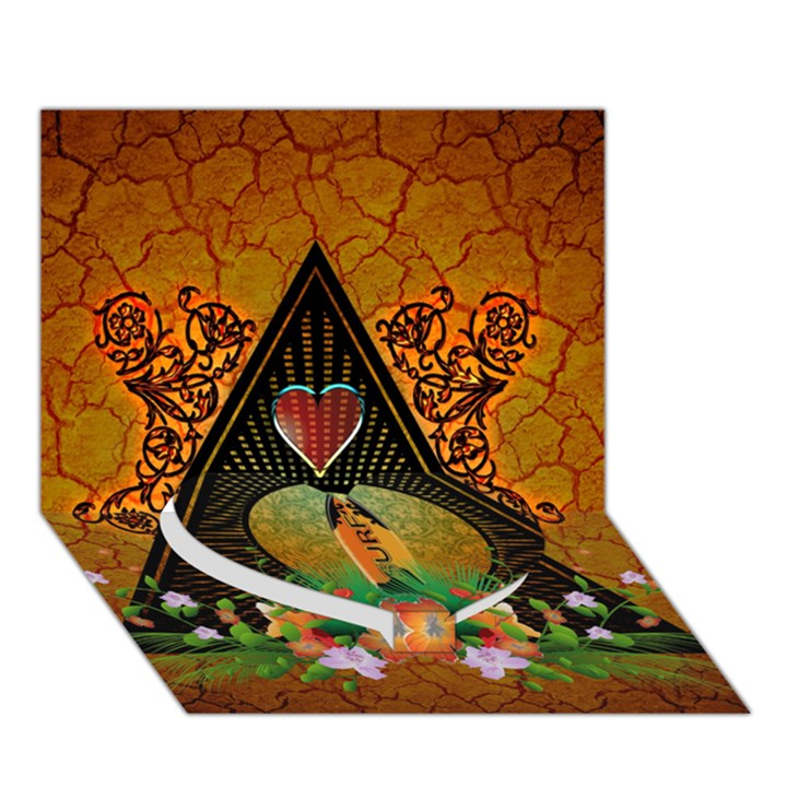 Surfing, Surfboard With Flowers And Floral Elements Heart Bottom 3D Greeting Card (7x5)