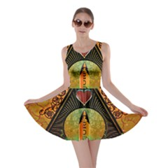 Surfing, Surfboard With Flowers And Floral Elements Skater Dresses