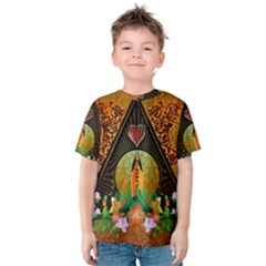 Surfing, Surfboard With Flowers And Floral Elements Kid s Cotton Tee