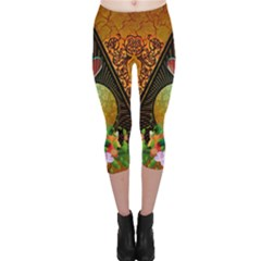 Surfing, Surfboard With Flowers And Floral Elements Capri Leggings