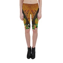 Surfing, Surfboard With Flowers And Floral Elements Cropped Leggings