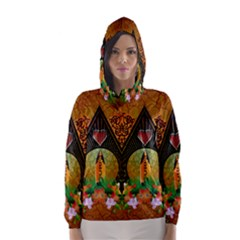 Surfing, Surfboard With Flowers And Floral Elements Hooded Wind Breaker (Women)