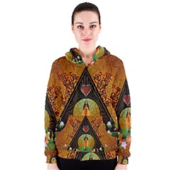 Surfing, Surfboard With Flowers And Floral Elements Women s Zipper Hoodies