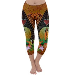 Surfing, Surfboard With Flowers And Floral Elements Capri Winter Leggings