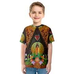 Surfing, Surfboard With Flowers And Floral Elements Kid s Sport Mesh Tees