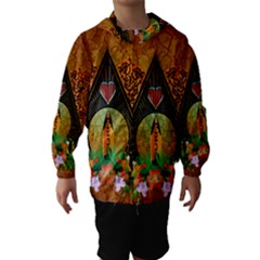 Surfing, Surfboard With Flowers And Floral Elements Hooded Wind Breaker (Kids)