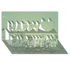 Wonderful Flowers In Soft Green Colors Happy Birthday 3d Greeting Card (8x4)