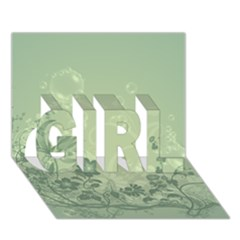 Wonderful Flowers In Soft Green Colors GIRL 3D Greeting Card (7x5)