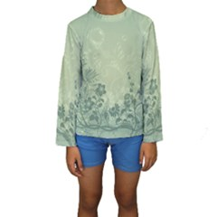 Wonderful Flowers In Soft Green Colors Kid s Long Sleeve Swimwear