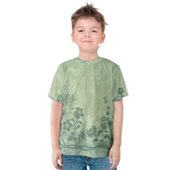 Wonderful Flowers In Soft Green Colors Kid s Cotton Tee