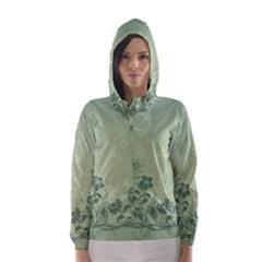 Wonderful Flowers In Soft Green Colors Hooded Wind Breaker (Women)