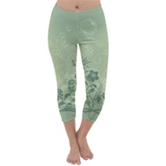 Wonderful Flowers In Soft Green Colors Capri Winter Leggings