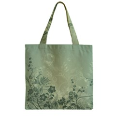 Wonderful Flowers In Soft Green Colors Zipper Grocery Tote Bags