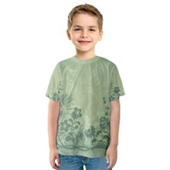 Wonderful Flowers In Soft Green Colors Kid s Sport Mesh Tees